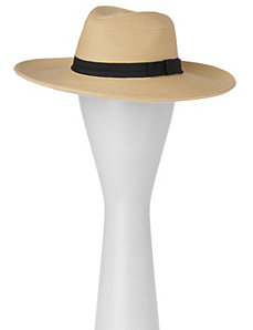 Straw panama hat with band by LANE BRYANT