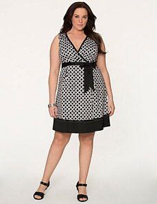 Geo surplice dress by LANE BRYANT