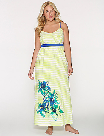 Striped floral sleep maxi
