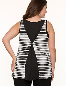 Metallic stripe chiffon back tank