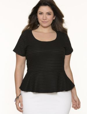 Shadow stripe peplum tee