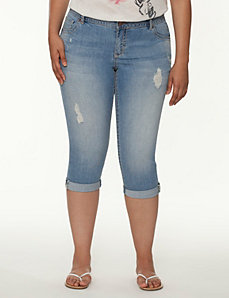 Genius Fit™ destructed denim capri