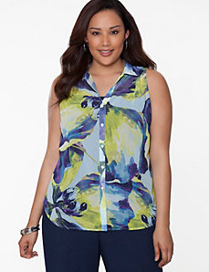 Floral envelope back blouse