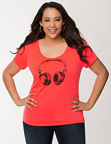 Head phones graphic tee by LANE BRYANT
