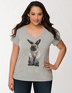 Embellished bunny tee by LANE BRYANT
