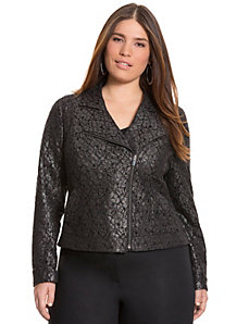 Lace moto jacket by LANE BRYANT