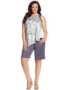 Lane Collection printed tank with faux leather trim by LANE BRYANT