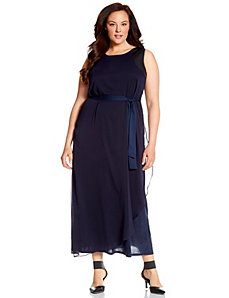 Lane Collection maxi dress with faux leather straps