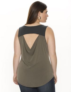 Draped back colorblock shell