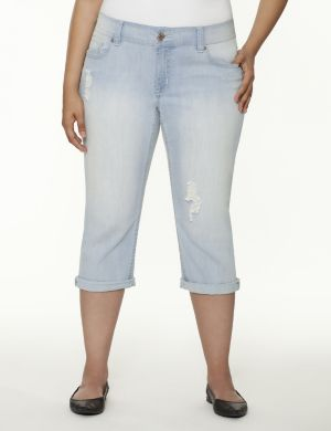 Rolled cuff denim capri by Seven7