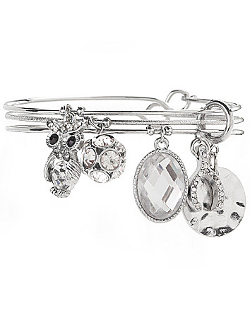 Owl & wishbone charm bracelet trio by Lane Bryant