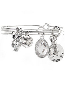 Owl & wishbone charm bracelet trio by