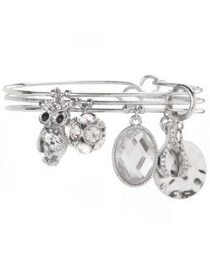 Owl & wishbone charm bracelet trio by Lane Bryant