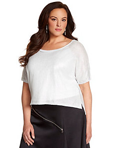 Lane Collection foiled crop sweater by LANE BRYANT