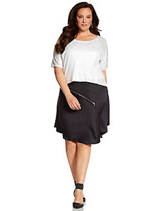 Lane Collection asymmetric zipper skirt