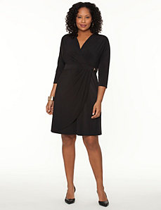 Wrap dress with buckle