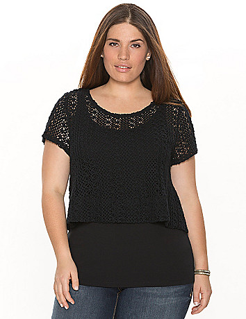 Crocheted layered crop top