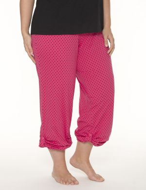Polka dot rolled leg sleep pant