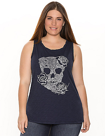 Embroidered skull tank