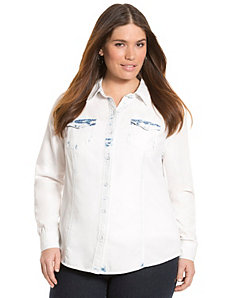 Bleached denim shirt by LANE BRYANT
