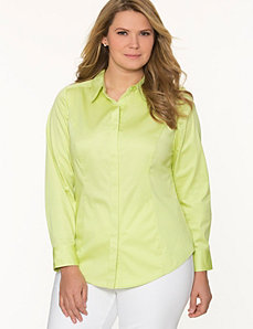 Classic collared shirt with covered placket
