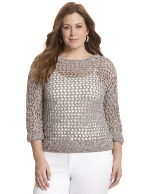 Metallic open stitch pullover