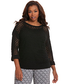 Open stitch pullover by LANE BRYANT