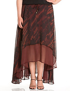 Lane Collection layered high-low skirt