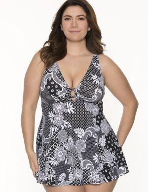 Lace print swim dress