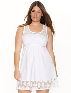 Geo lace trim cotton chemise by LANE BRYANT