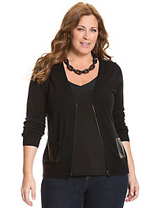 Zip front cardigan with faux leather pockets