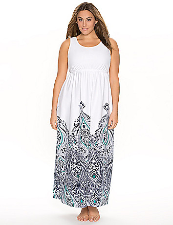Cotton sleep maxi with border print
