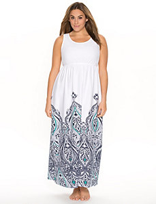 Cotton sleep maxi with border print by LANE BRYANT