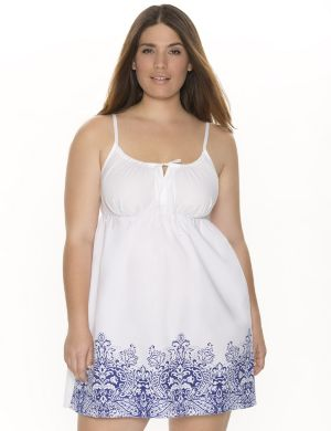 Woven chemise with border print
