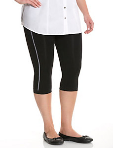 Contrast stitch capri legging tights