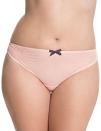 Tulle ruched thong panty