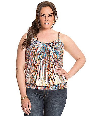 Printed tank with braided straps
