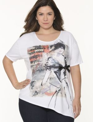 Newspaper asymmetric tee