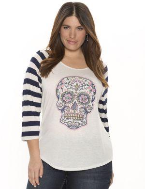 Embellished skull tee