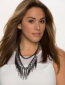 Chain & faceted bead necklace by Lane Bryant