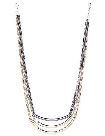 Tri-tone tube necklace by Lane Bryant