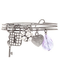 Lock & key charm bracelet trio by Lane Bryant