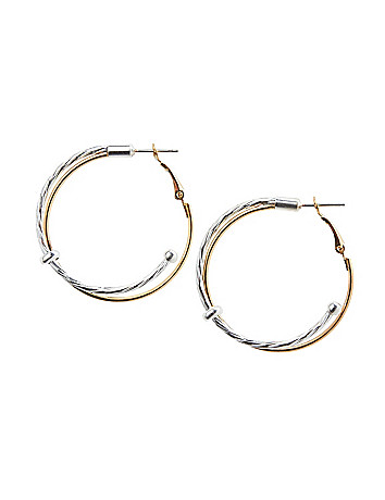 Two tone twisted hoop earrings by Lane Bryant