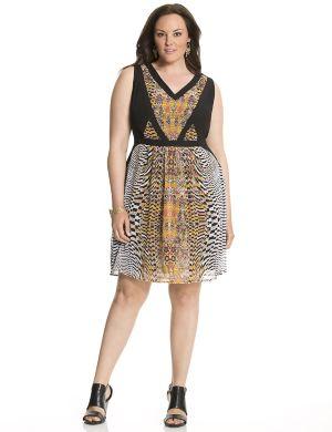 Printed chiffon tank dress