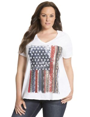 Embellished flag tee