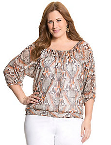 Ikat smocked peasant top by LANE BRYANT