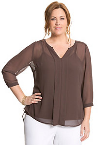 Pleated back blouse by LANE BRYANT