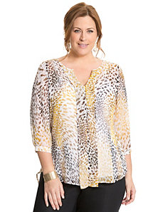 Animal print pleated back blouse by LANE BRYANT