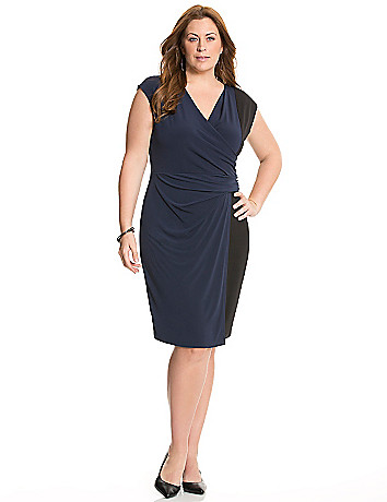 Colorblock faux wrap dress