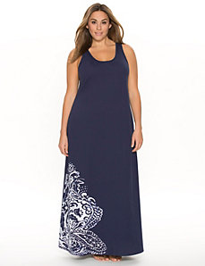 Placed print sleep maxi
